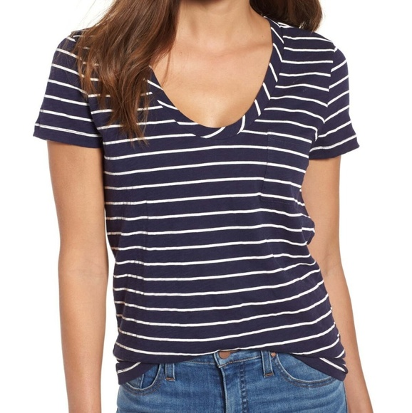0b7e6ce4 Caslon Tops | Nwt Dark Bluewhite Striped Pocket Tshirt | Poshmark